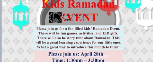 Kids ramadan event this saturday.