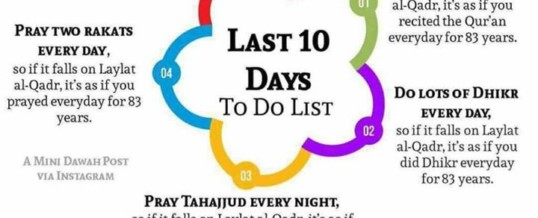 To Do List for Last 10 Days of Ramadhan